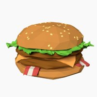 3D model cartoon burger
