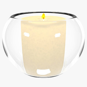 3D glass cup candle model