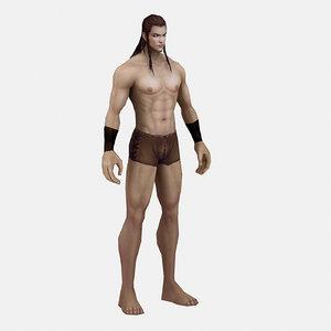 long hair man 3D model