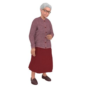 rigged old woman 3D model