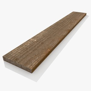 pbr old wooden plank 3D model