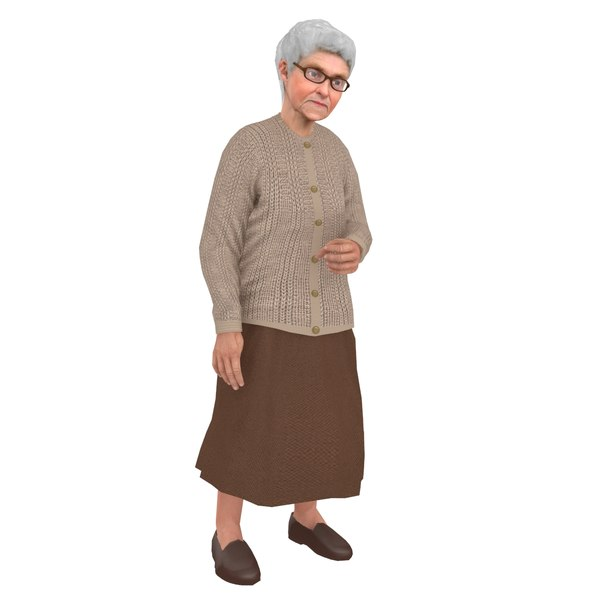 3D rigged old woman model