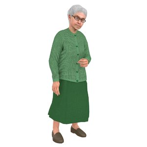 3D model rigged old woman