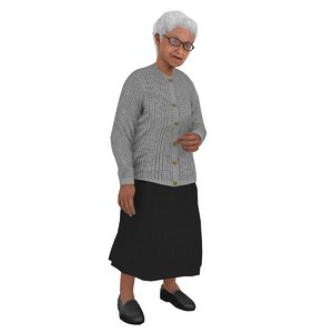 rigged old woman model