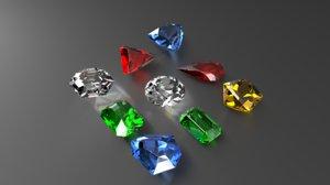 3D 9 gem cuts model
