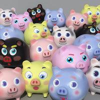 3D model pig cartoon toon