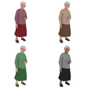 3D pack rigged old woman