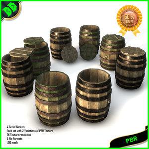 barrels pack pbr 3D model