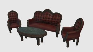 3D model vintage victorian furniture chairs