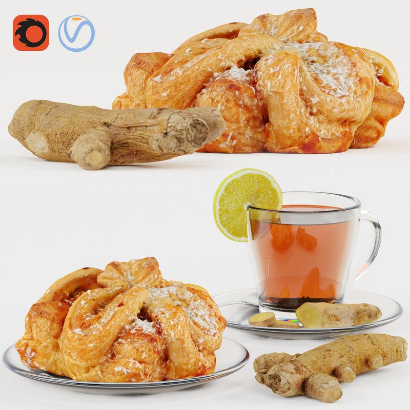 3D model tea ginger bun