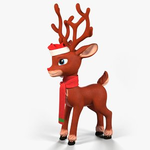 3D cartoon reindeer christmas character model