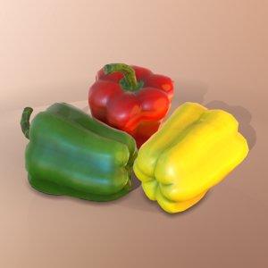 3D pepper yellow green