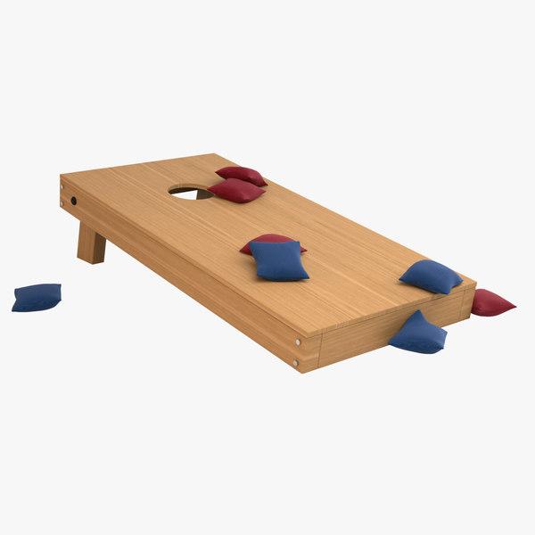 cornhole set wood 3D model