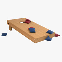 cornhole set wood 3D model