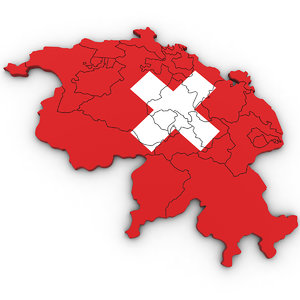 3D model switzerland cantons swiss