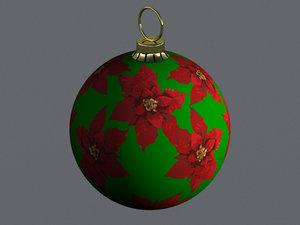 christmas ornament ball poinsettias 3D model