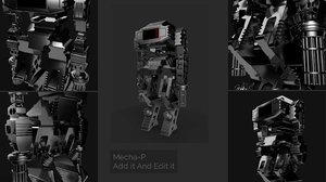 sci-fi robot mecha 3D model