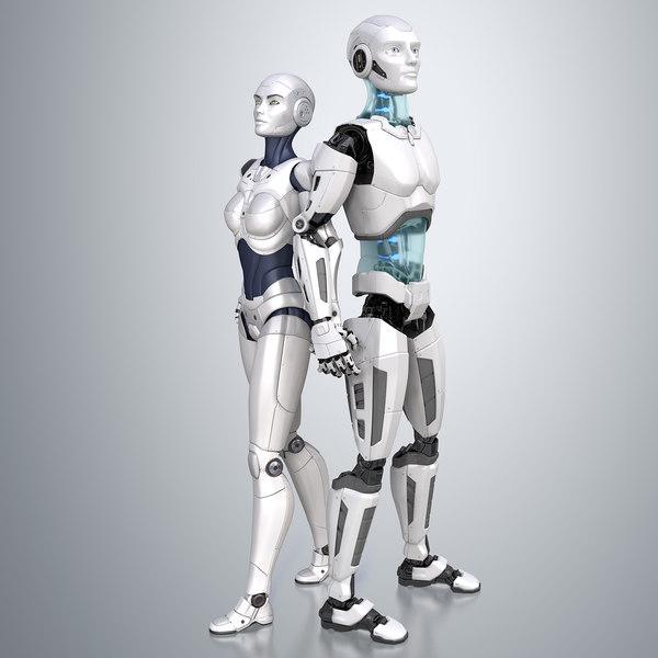 sci-fi male female robots 3D model