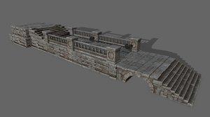 3D column stairs stone