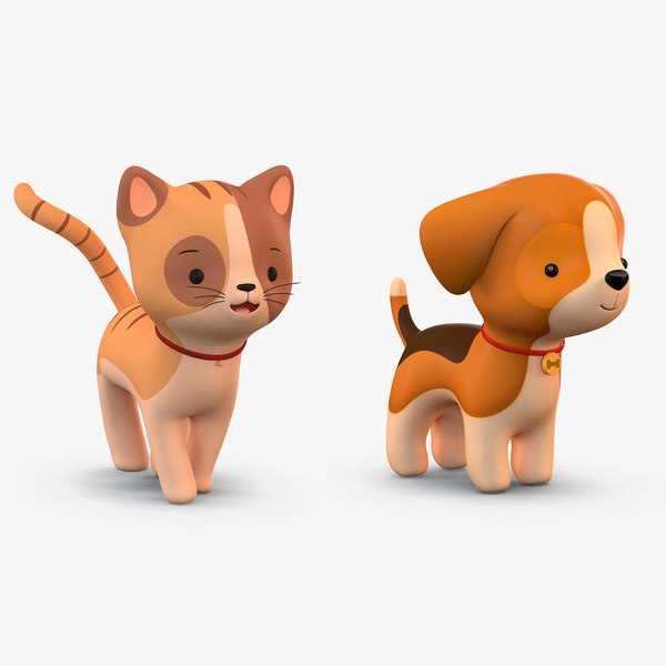 3D model cute cartoon dog cat