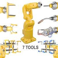 robot arm 7 tools 3D model