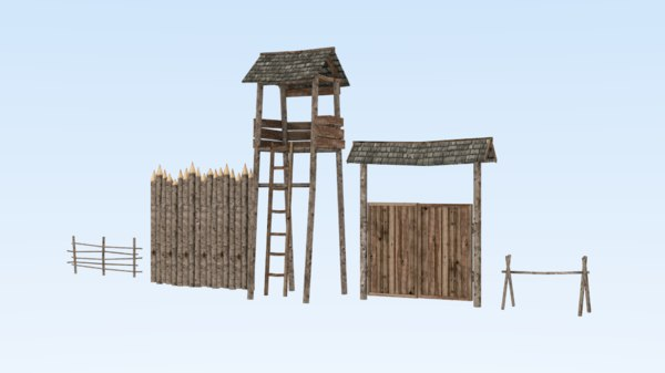 tower fence medieval architecture 3D model