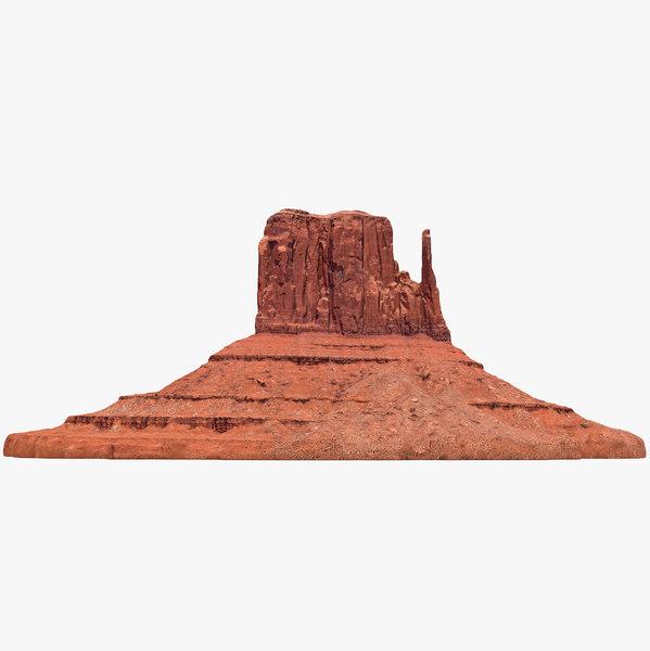 3D sandstone butte 3 model