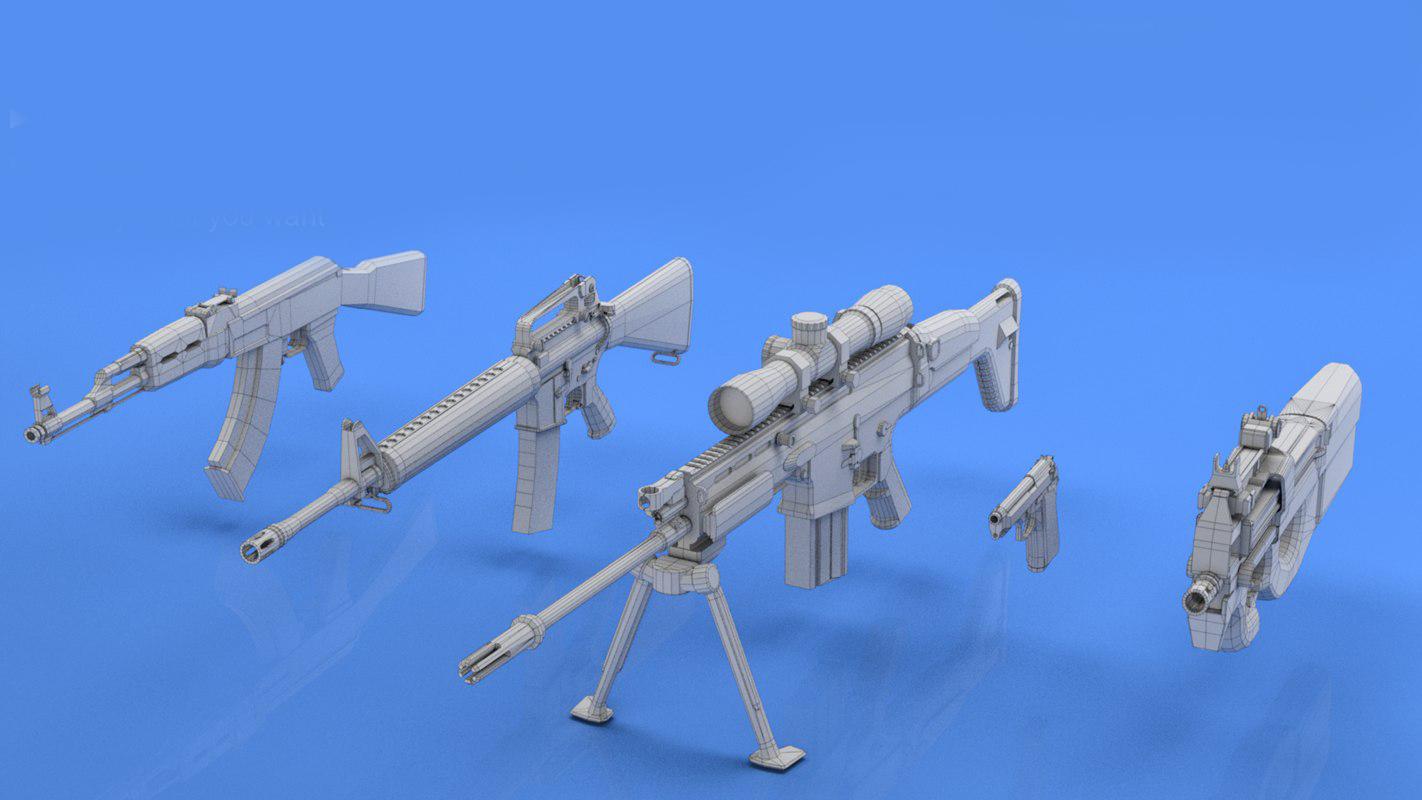 3D mk16 sniper p90 model