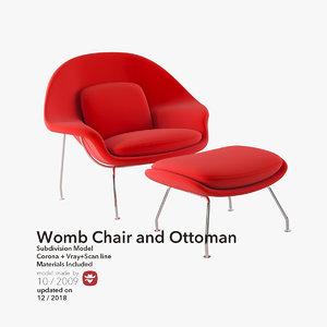 eero saarinen womb chair 3d model