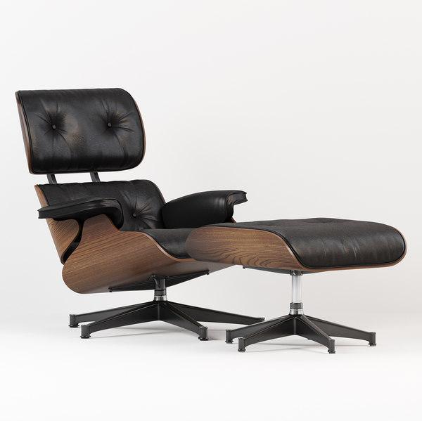 3D model eames lounge chair ottoman