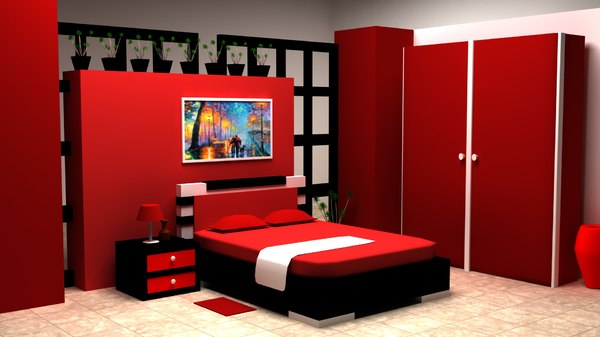 red architectural interior bedroom 3D model