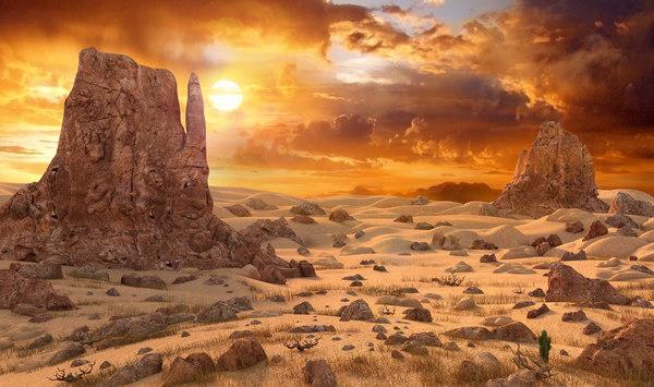 3D environment sun sunset model