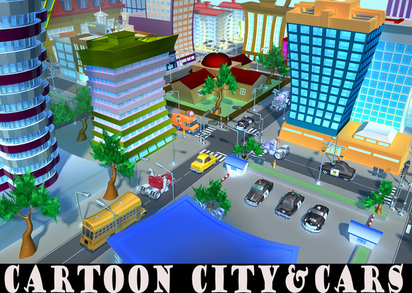 3D cartoon city props toon model