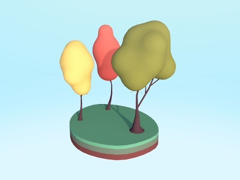 3D model cartoon trees pack