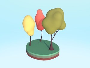 3D model cartoon trees pack