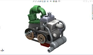 3D engine fiat 126 model