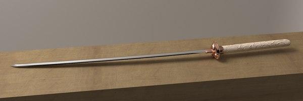 3D model custom katana sword