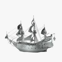 revenge queen anne pirate ship 3D model