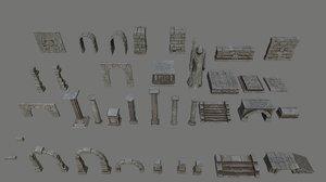 3D archway column pillar model