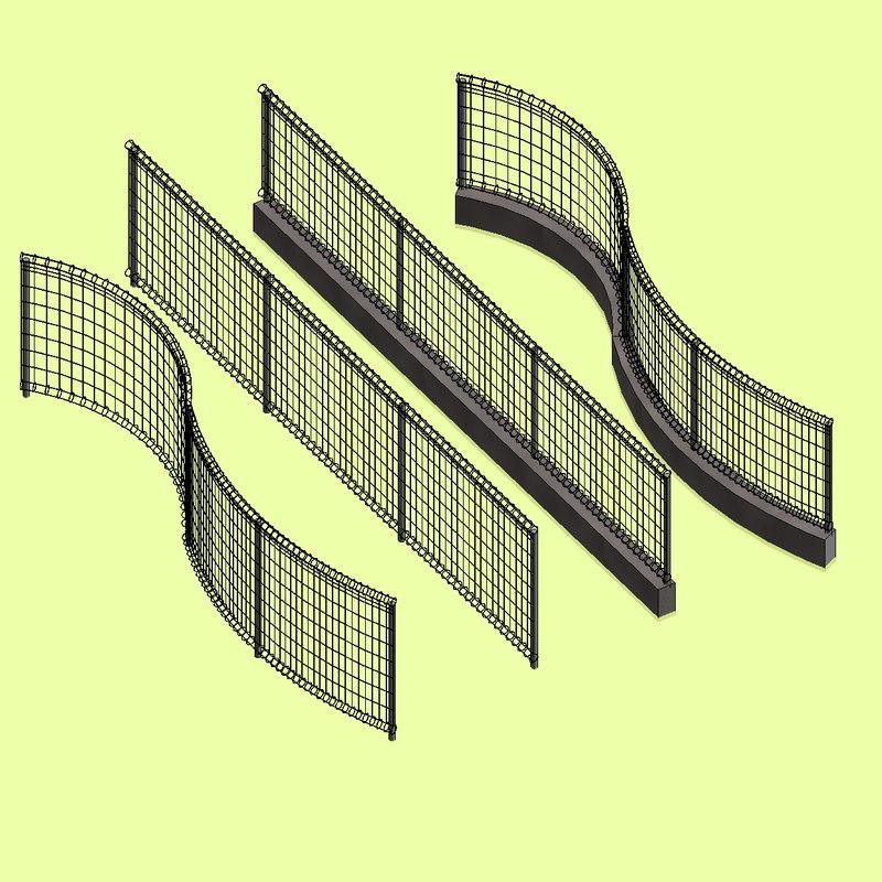 Revit Mesh Fence by Railing