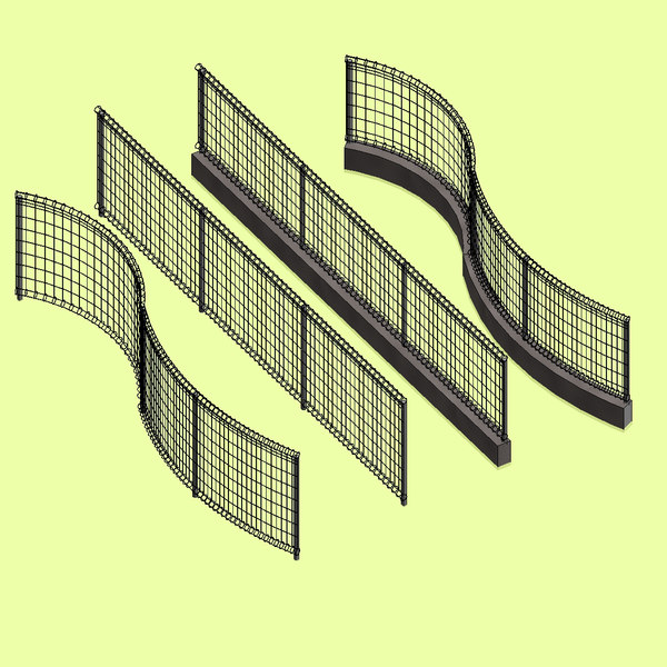 3D model loop wire mesh fence