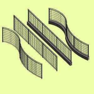 3D model loop wire mesh fence