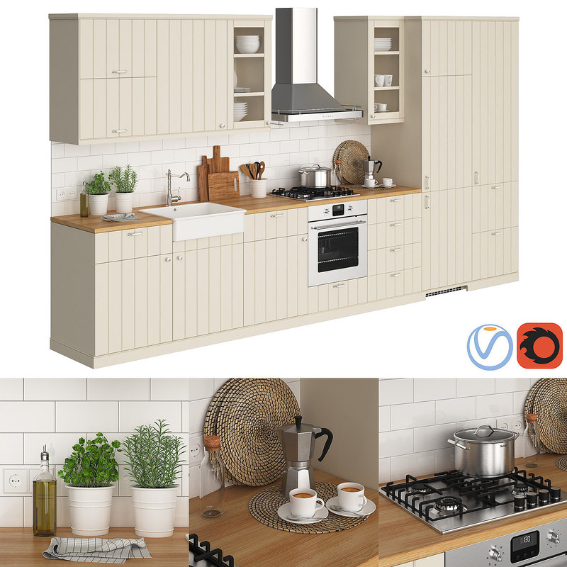 3D kitchen ikea metod hittarp - TurboSquid 1360865