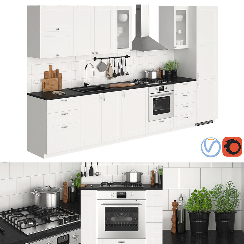Kitchen ikea metod savedal 3d turbosquid 1360876 for Ikea cucina 3d