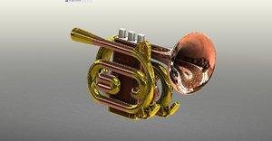 instruments cornet pocket trumpet 3D model