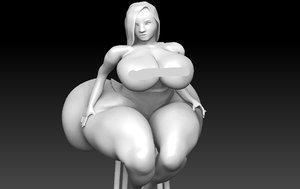 3D model girl sitting chair