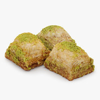 3D model pistachio baklava 3 pieces