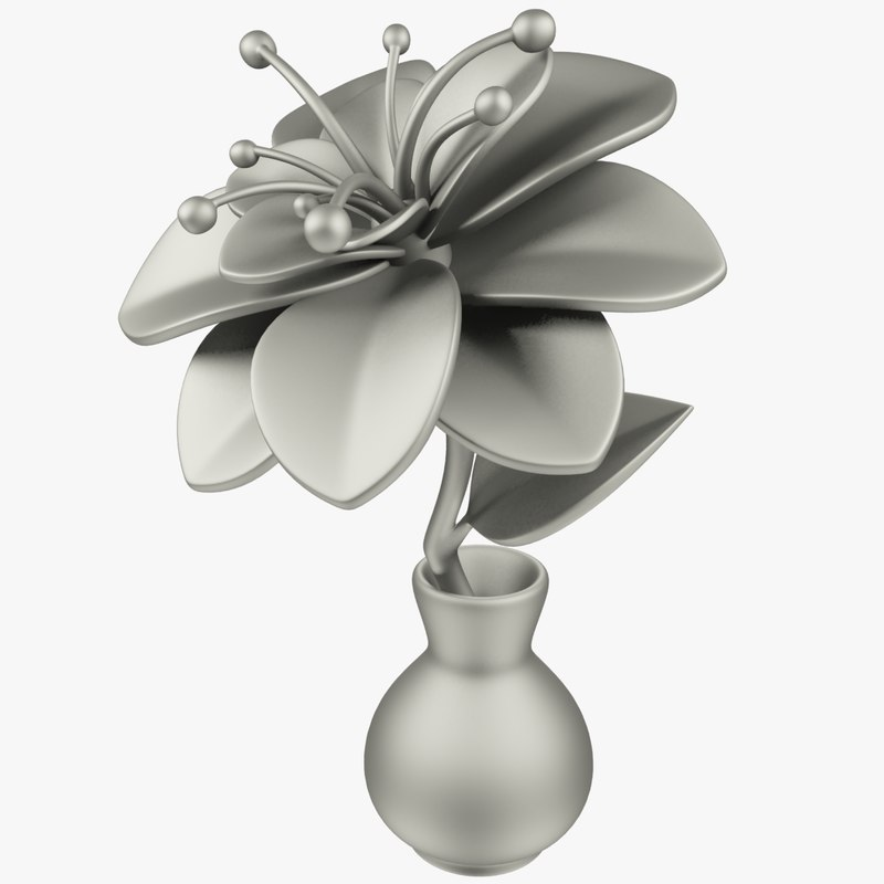 3D model cartoon flower vase