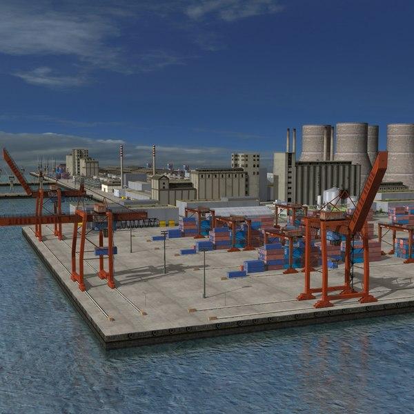 3D industrial refinery factory port-harbour