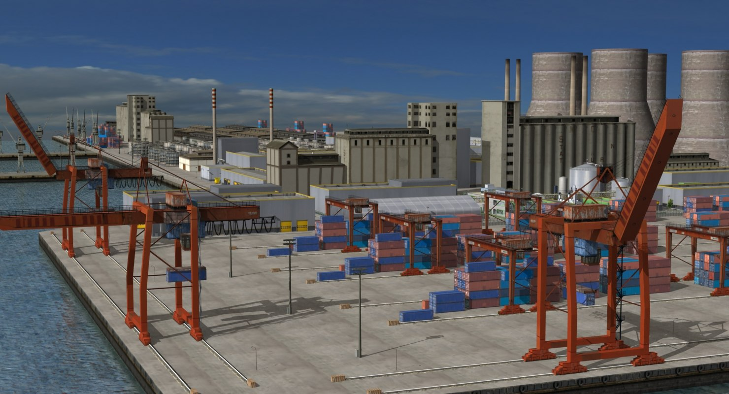 3D industrial refinery factory port-harbour